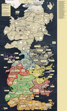 This map shows Westeros land of the seven kingdoms and the