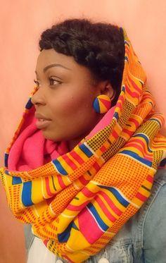 "Ankara fabric setof fleece scarf ""ADJA"" + earrings ""Kola"" 38mm"