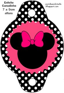 Kit Festa Minnie Rosa Preto e Pink strawholder