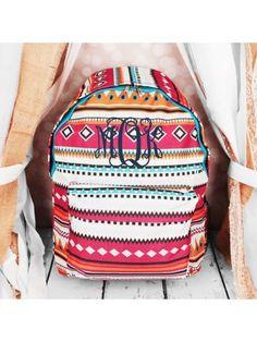www.ewam.com Pink Aztec with Blue Trim Backpack