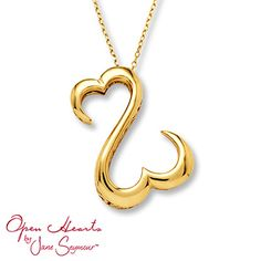 Jane Seymour Open Hearts Necklace 14K Yellow Gold