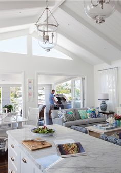 Glamour Coastal Living: Feature Friday: Effortless Elegance in Brisbane Coastal Living Rooms, Home And Living, Style At Home, Style Blog, Raked Ceiling, Open Ceiling, Beach House Decor, Home Decor, Open Plan Living