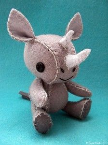 Juji the Rhinoceros Wool Felt Designer Plush Doll,...  February 2015
