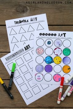 geometric art printable...let your kids imaginations run wild! - A girl and a glue gun