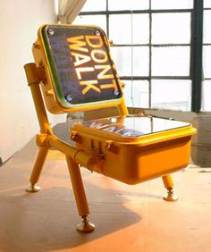 Modified Signage Furniture - Tim Delner's Street Sign Furnishings Turn Symbols into Seats (GALLERY) Car Furniture, Automotive Furniture, Recycled Furniture, Furniture Design, Aviation Furniture, Unusual Furniture, Custom Furniture, Chair Design, Best Insurance