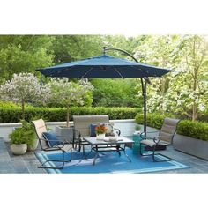 Hampton Bay 11 Ft Aluminum Cantilever Solar Led Offset Outdoor Patio Umbrella In Midnight Navy Blue Yjaf052 Mi The Home Depot In 2020 Outdoor Patio Umbrellas Outdoor Patio Patio Umbrella