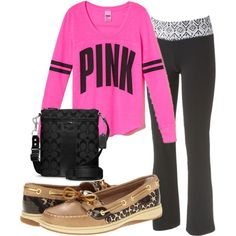 lazy day  PINK Shirt     30 Sperrys     63 Yoga Pants     15 SatchelCute Lazy Day Outfits With Yoga Pants