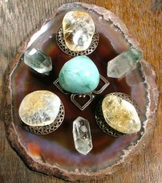 Crystal Grid For Prosperity - I like that the grid is set up on a stone