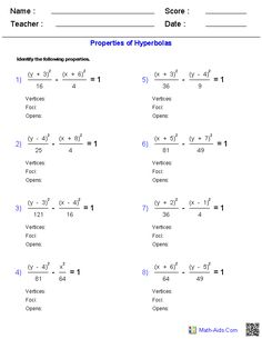Printables Hyperbola Worksheet writing equations of hyperbolas worksheets math aids com properties worksheets