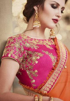 Pink and Orange Ombre Handloom Silk Lehenga features a pink dhupian silk blouse alongside an ombre handloom silk lehenga and chiffon pallu. Embroidery work is completed with zari, sequns, thread and stone embellishments.