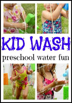 Preschool Water Fun {The Kid Wash} -- Lots of fun with some pvc pipes, water, and sponges!  Great for  preschool water days, or for any kiddos during hot summer days