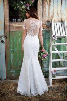 Honesty | Honesty | lace | sheer illusion neckline | small train | fit and flare | sleeves | amanda wyatt | wedding dress | bridal gown | Amanda Wyatt