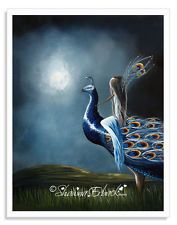 peacock, peacock pictures, peacock wall art, fairy art prints, 8x10 matte, pixie