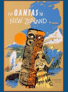 Fly-Qantas-to-New-Zealand-Australian-Vintage-Travel-Advertisement-Poster