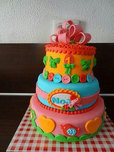 Bright coloured cake