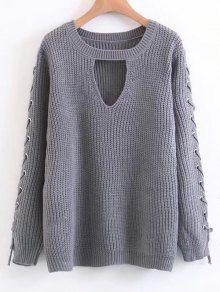 Lace Up Chunky Choker Sweater - Gray