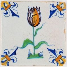 Antique Dutch Delft tile with a beautiful polychrome tulip, 17th century