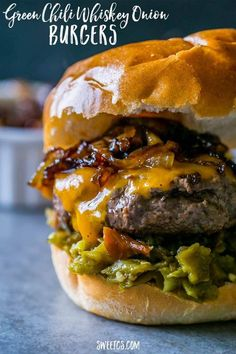 Green Chili Whiskey Onion Burger - Green chili whiskey onion burgers are rich, smoky, sweet, and a little spicy - with no grill needed! Tons of southwestern flavor in every bite. Onion Burger, Burger And Fries, Beef Burgers, Good Burger, Amazing Burger, Grilling Recipes, Meat Recipes, Cooking Recipes, Grilled Hamburger Recipes