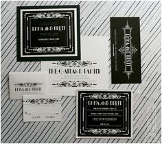 Great Gatsby - Wedding Style Magazine absolutely dying these are perfect! Art Deco Wedding Invitations, Vintage Wedding Invitations, Wedding Stationary, Great Gatsby Themed Wedding, Gatsby Themed Party, Themed Weddings, Wedding Inspiration, Wedding Ideas, Wedding Blog