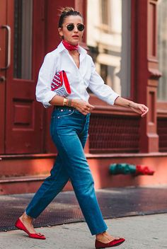 Red bandana, a white shirt, straight jeans, red flats, round aviator sunglasses and a red clutch - Fashion, fashion blogger, fashion 2018, valentine's day 2018, valentine's day, valentine's, valentine's outfits, valentine's day outfit, valentine's day outfit ideas, date night outfit, galentines outfit, be my valentine, romantic outfit, casual outfit, comfy outfit, spring outfit.