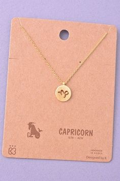 Dainty Circle Coin Capricorn Zodiac Symbol Necklace - Gold or Silver