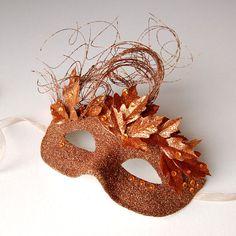Copper Flurry  fairy Mardi Gras Venetian masquerade by KMCQdesigns, $30.00