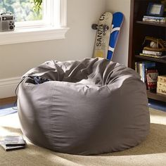 Charcoal Washed Twill Beanbag #pbteen