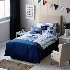MZPRIDE Cute Cartoon Pirate Ship Kids Bedding Set Boys Bed Covers Full ** You can find more details by visiting the image link.