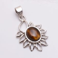 Natural Handmade Tiger Eye Gemstone 925 Sterling Silver Pendant Filigree Jewelry #PI #Pendant