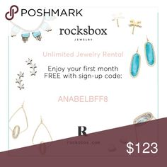 Free Month of RocksBox!! You add items to a wish list and they send you 3 at a time. If you like them, you keep them and they charge you at a discounted price. If you don't like them, you send them back and give feedback. From that feedback and your wish list, they select 3 more items to send you. I normally send the box back next day, so I've gotten up to a box a week within the free month!! Plus, each month they give you a $10 allowance for purchasing anything you want! Use my code…