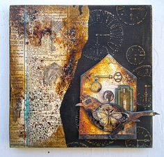 """Art Journal - Altered Treasures - Assemblage Finds - """"Bird House"""" Graphic 45"""