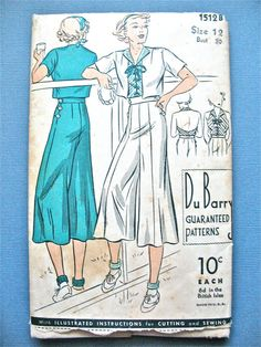 1930s DuBarry 1512B Halter Top Side Buttoning Culottes and Bolero lace-up front  Halter Vintage Sewing Pattern Du Barry  Bust 30 inches
