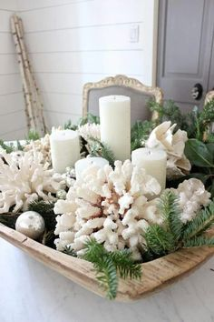Like the simple white shells-coral mixed with natural greens.  Super Easy to duplicate!