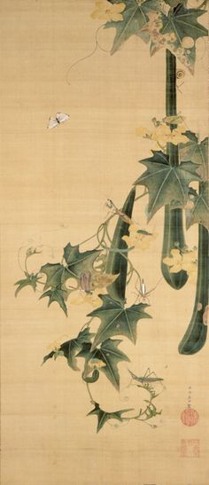Snake-gourds and insects - Ito Jakuchu, Edo period, century hanging scroll, color and silk Japanese Drawings, Japanese Artwork, Japanese Prints, Korean Painting, Chinese Painting, Chinese Art, Art Chinois, Japan Painting, Art Japonais