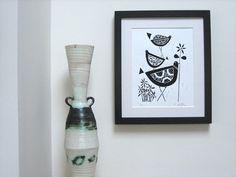 Black Birds Linocut Original Lino Print by TheBluebirdGallery, £18.00