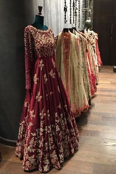Indian Dark Red Anarkali/Dress | Beautiful Embroidery Work | Stunning & Elegant Dress