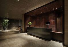 Lobby reception framed in wood
