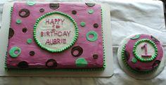 1/2 sheet & small round 1st birthday cake