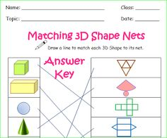 Free Worksheets for 3D Shapes... #math