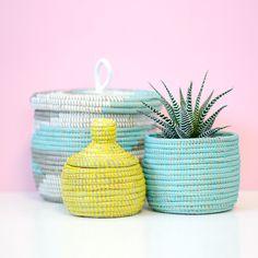 Geo Aqua Lidded Storage Basket