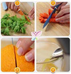 Porkkana-appelsiinimehun ohjeet 1 Plastic Cutting Board, Juice, Curry, Bakery, Skin Care, Cook, Natural Juice, Carrot, Orange