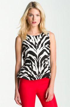 kate spade new york 'randie' zebra print linen top available at #Nordstrom