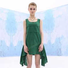 Green Irregual Hem Long Skirt Women Loose Blouse Pure Cotton Large Size Dresses Casual Plus Size Sundress Stylish Tops