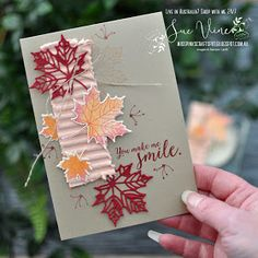 Card created using Colorful Seasons stamp set from Stampin' Up!® by Sue Vine Pink Crafts, Paper Crafts, Leaf Cards, Beautiful Handmade Cards, Thanksgiving Cards, Fall Cards, Cards For Friends, Brighten Your Day, Make Me Smile
