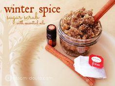 Winter Spice Sugar Scrub  contents of 5chai tea bags ½ cup brown sugar ½ cup white granulated sugar 3 dropscinnamonessential oil 4 tablespoons almond oil 1 teaspoo...