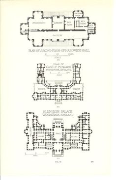 1909 Architecture Print Hardwick Hall Howard Castle by Holcroft