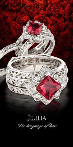 Jeulia Hollow Interchangeable Princess Cut Created Ruby Wedding Set #Jeulia