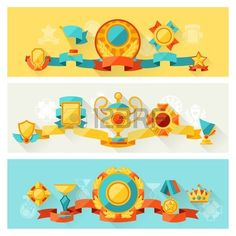 Horizontal banners with trophy and awards in flat design style  Stock Vector