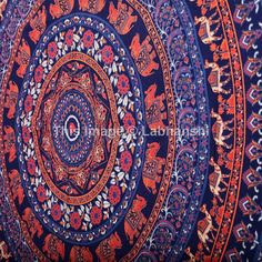 Blue Hippie Hippy Wall Hanging  Indian Mandala by Labhanshi