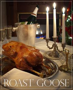 Roast Goose with Prune & Foie Gras Stuffing - ChinDeep Wild Game Recipes, Duck Recipes, Chicken Recipes, Turkey Recipes, Christmas Dinner Plates, Christmas Eve, Goose Recipes, New Years Eve Dinner, Healthy Recipes On A Budget